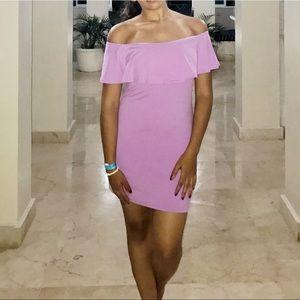Lavender off the shoulder body on dress